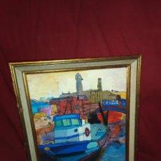 Arte: OLEO SOBRE TABLA ENMARCADO BARCOS EN MUELLE MODERNISTA SIN FIRMA APARENTE AGRADECE INFORMACIÓN. Lote 287612643