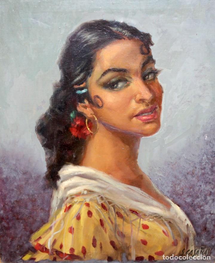 SALVADOR CASAÑAS (1903 - ??) OLEO SOBRE TELA. RETRATO DE UNA BAILADORA (Arte - Pintura - Pintura al Óleo Contemporánea )