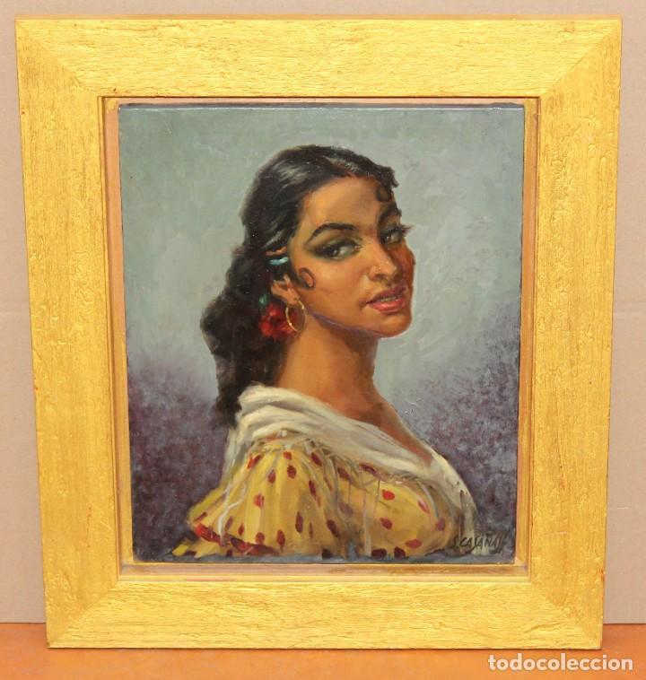Arte: SALVADOR CASAÑAS (1903 - ??) OLEO SOBRE TELA. RETRATO DE UNA BAILADORA - Foto 2 - 287652468