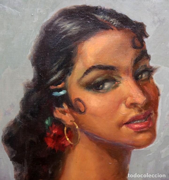 Arte: SALVADOR CASAÑAS (1903 - ??) OLEO SOBRE TELA. RETRATO DE UNA BAILADORA - Foto 3 - 287652468