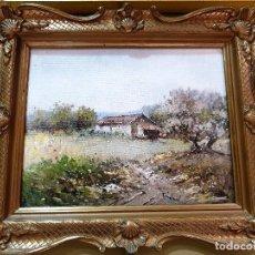 Arte: PAISAJE CAMPESTRE. O/TABLA EN BONITO MARCO. FIRMA ILEGIBLE. HACIA 1950.. Lote 37509967