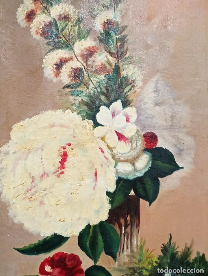 Arte: Bonito lienzo bodegón de flores. Siglo XIX. AL - Foto 2 - 287676553