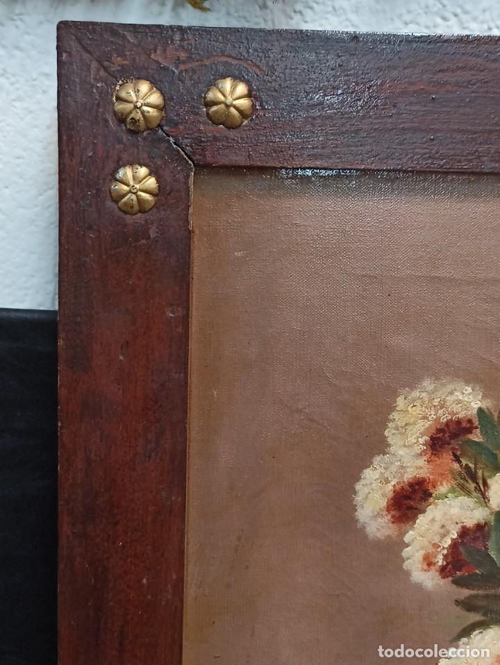 Arte: Bonito lienzo bodegón de flores. Siglo XIX. AL - Foto 3 - 287676553