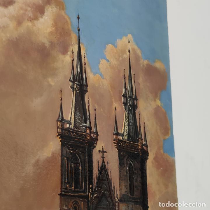 Arte: Oleo sobre lienzo. Ayuntamiento y plaza de la ciudad vieja. Praga. Copia firmada. Siglo XX. - Foto 5 - 287677603