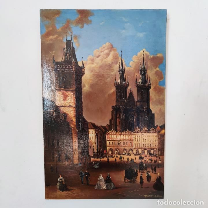 Arte: Oleo sobre lienzo. Ayuntamiento y plaza de la ciudad vieja. Praga. Copia firmada. Siglo XX. - Foto 9 - 287677603