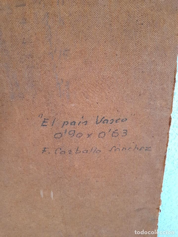 Arte: Gran tamaño Óleo sobre tabla o similar País Vasco firmado autor Carballo Sánchez 90 cm x 63 cm - Foto 7 - 287677973