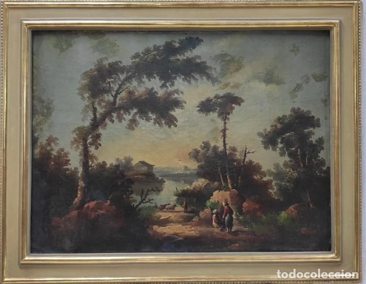 """LAS AFUERAS"", ÓLEO SOBRE LIENZO, DE FINALES DEL SIGLO XIX. SIN FIRMAR. (Arte - Pintura - Pintura al Óleo Moderna siglo XIX)"