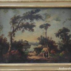 """Arte: """"LAS AFUERAS"""", ÓLEO SOBRE LIENZO, DE FINALES DEL SIGLO XIX. SIN FIRMAR.. Lote 287705578"""