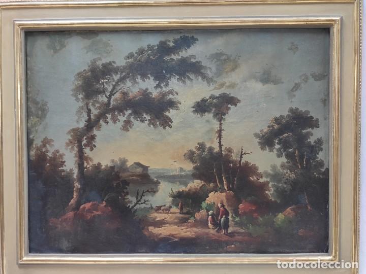 """Arte: """"Las afueras"""", óleo sobre lienzo, de finales del siglo XIX. Sin firmar. - Foto 2 - 287705578"""