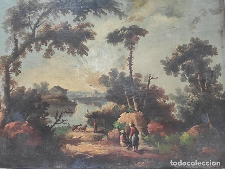 """Arte: """"Las afueras"""", óleo sobre lienzo, de finales del siglo XIX. Sin firmar. - Foto 3 - 287705578"""