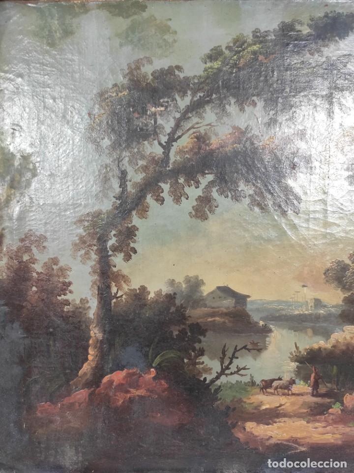 """Arte: """"Las afueras"""", óleo sobre lienzo, de finales del siglo XIX. Sin firmar. - Foto 4 - 287705578"""