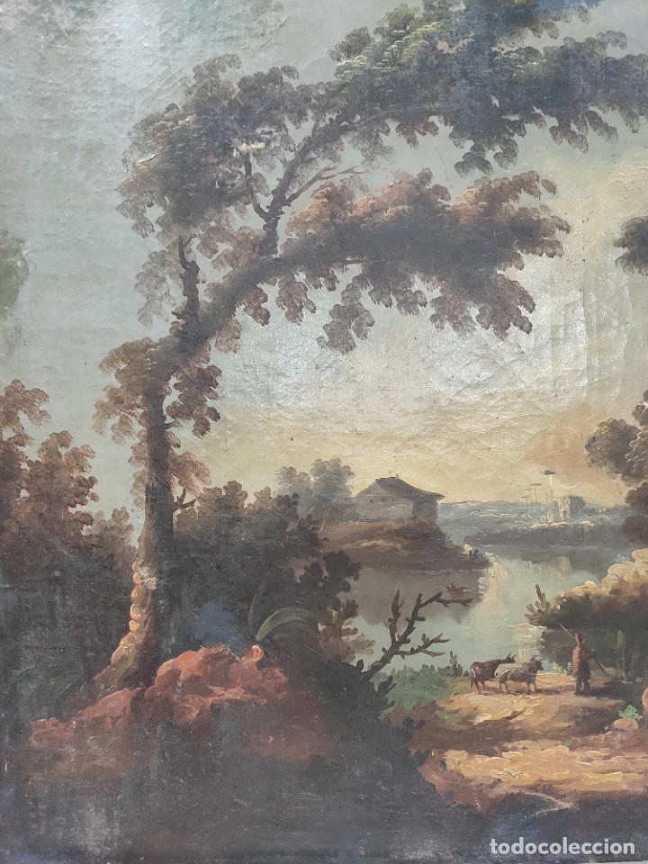 """Arte: """"Las afueras"""", óleo sobre lienzo, de finales del siglo XIX. Sin firmar. - Foto 6 - 287705578"""