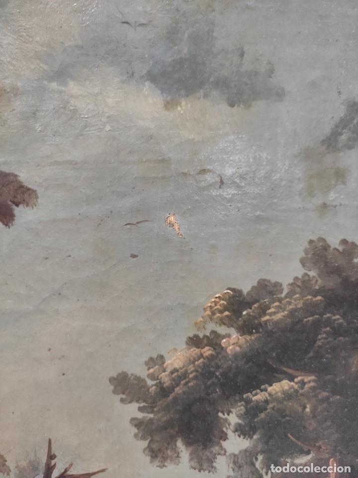 """Arte: """"Las afueras"""", óleo sobre lienzo, de finales del siglo XIX. Sin firmar. - Foto 7 - 287705578"""