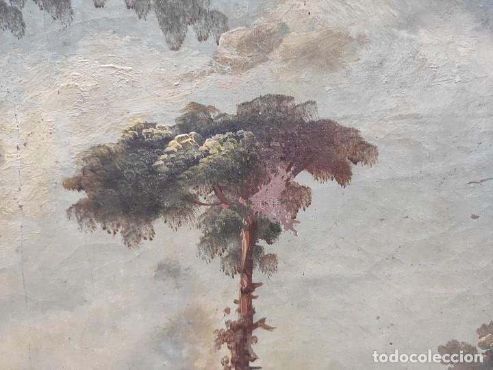 """Arte: """"Las afueras"""", óleo sobre lienzo, de finales del siglo XIX. Sin firmar. - Foto 8 - 287705578"""
