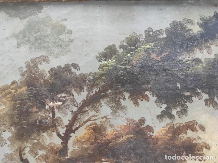 """Arte: """"Las afueras"""", óleo sobre lienzo, de finales del siglo XIX. Sin firmar. - Foto 9 - 287705578"""