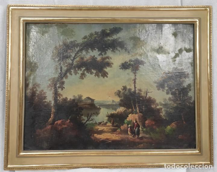 """Arte: """"Las afueras"""", óleo sobre lienzo, de finales del siglo XIX. Sin firmar. - Foto 11 - 287705578"""