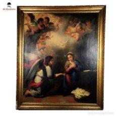 Arte: ESPECTACULAR COPIA DE FRANCISCO MURILLO. LA ANUNCIACIÓN. FIRMADO EMILIO SALAS. SIGLO XIX.. Lote 287705688