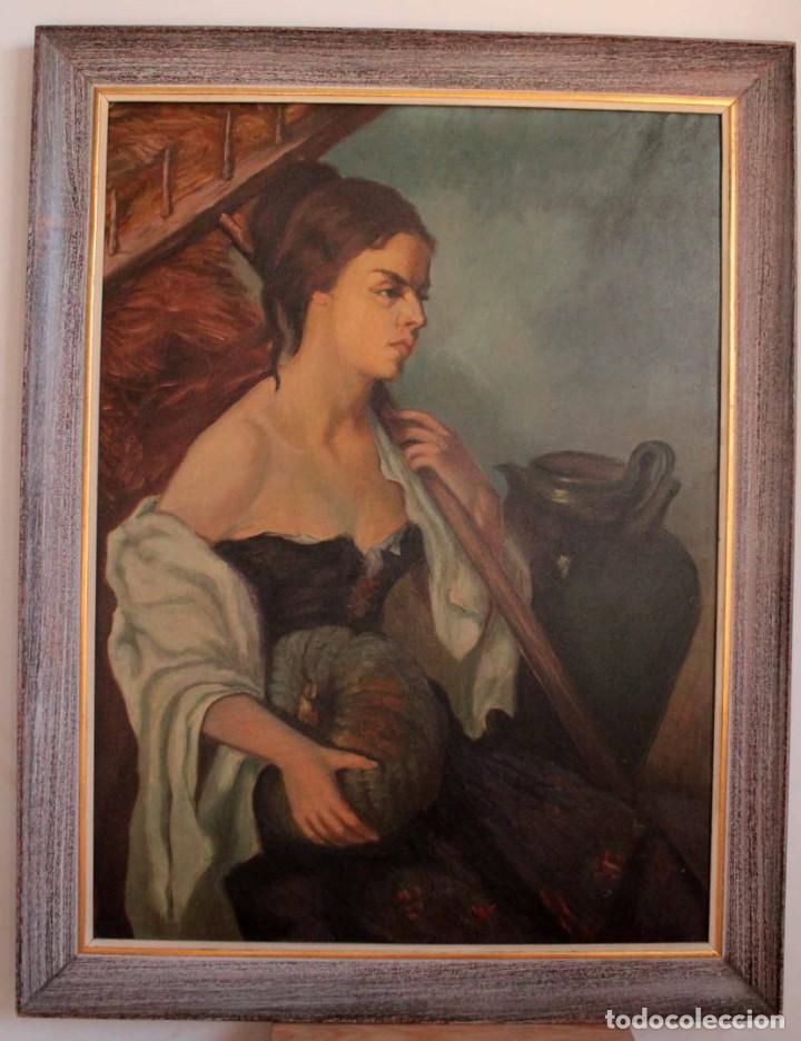 Arte: Mujer con calabaza. Oleo / lienzo. Firma ilegible. Alta calidad. Enmarcado 89x64cm - Foto 2 - 287736268