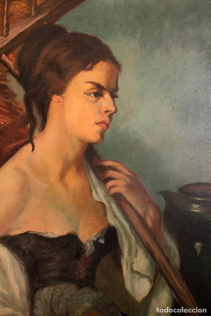 Arte: Mujer con calabaza. Oleo / lienzo. Firma ilegible. Alta calidad. Enmarcado 89x64cm - Foto 3 - 287736268