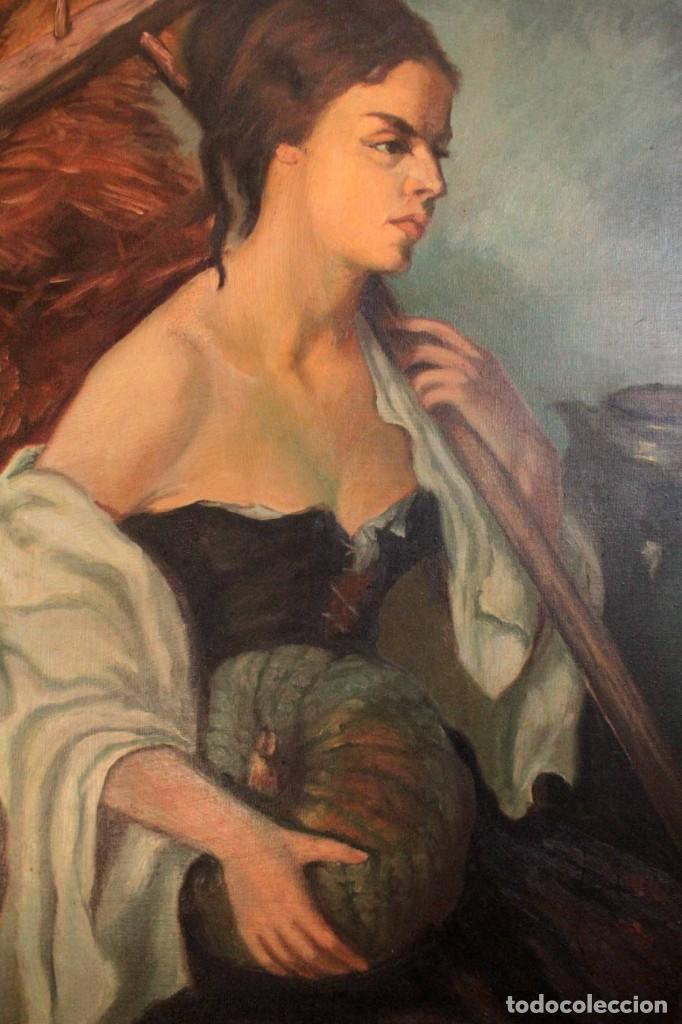 Arte: Mujer con calabaza. Oleo / lienzo. Firma ilegible. Alta calidad. Enmarcado 89x64cm - Foto 4 - 287736268