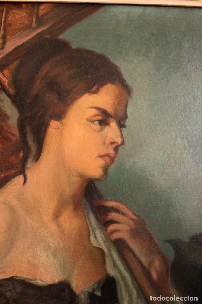 Arte: Mujer con calabaza. Oleo / lienzo. Firma ilegible. Alta calidad. Enmarcado 89x64cm - Foto 5 - 287736268