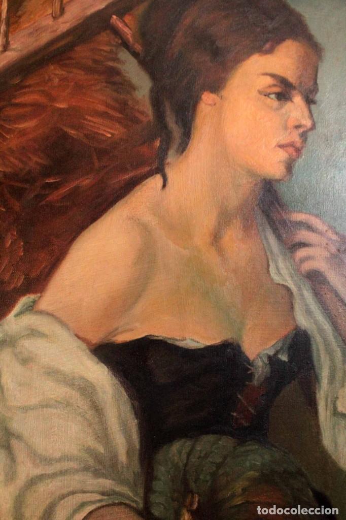 Arte: Mujer con calabaza. Oleo / lienzo. Firma ilegible. Alta calidad. Enmarcado 89x64cm - Foto 6 - 287736268