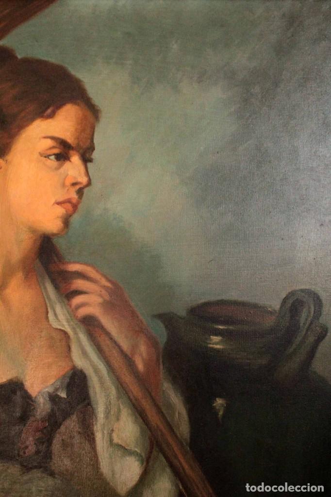 Arte: Mujer con calabaza. Oleo / lienzo. Firma ilegible. Alta calidad. Enmarcado 89x64cm - Foto 7 - 287736268