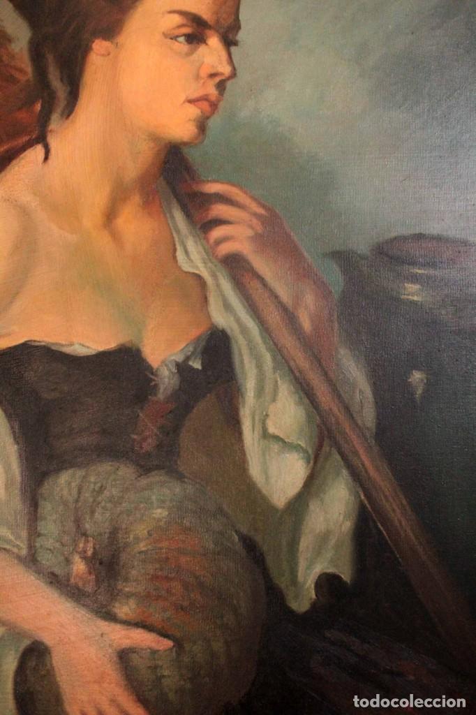 Arte: Mujer con calabaza. Oleo / lienzo. Firma ilegible. Alta calidad. Enmarcado 89x64cm - Foto 8 - 287736268