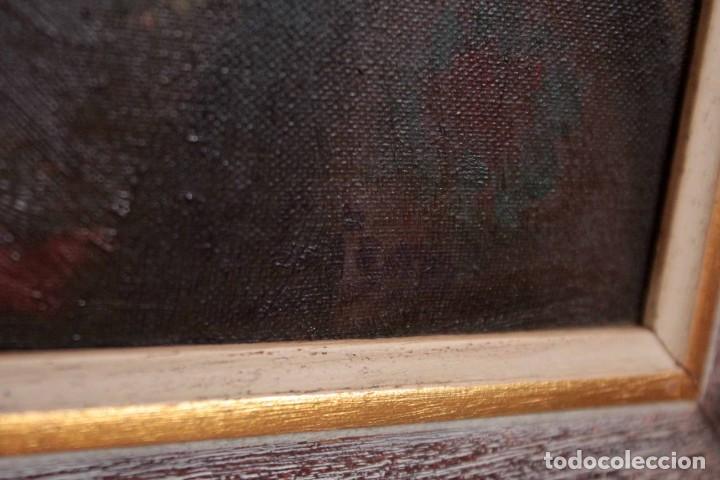 Arte: Mujer con calabaza. Oleo / lienzo. Firma ilegible. Alta calidad. Enmarcado 89x64cm - Foto 9 - 287736268