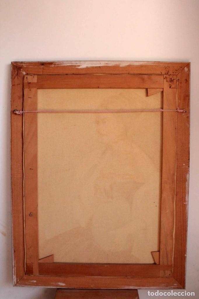 Arte: Mujer con calabaza. Oleo / lienzo. Firma ilegible. Alta calidad. Enmarcado 89x64cm - Foto 11 - 287736268