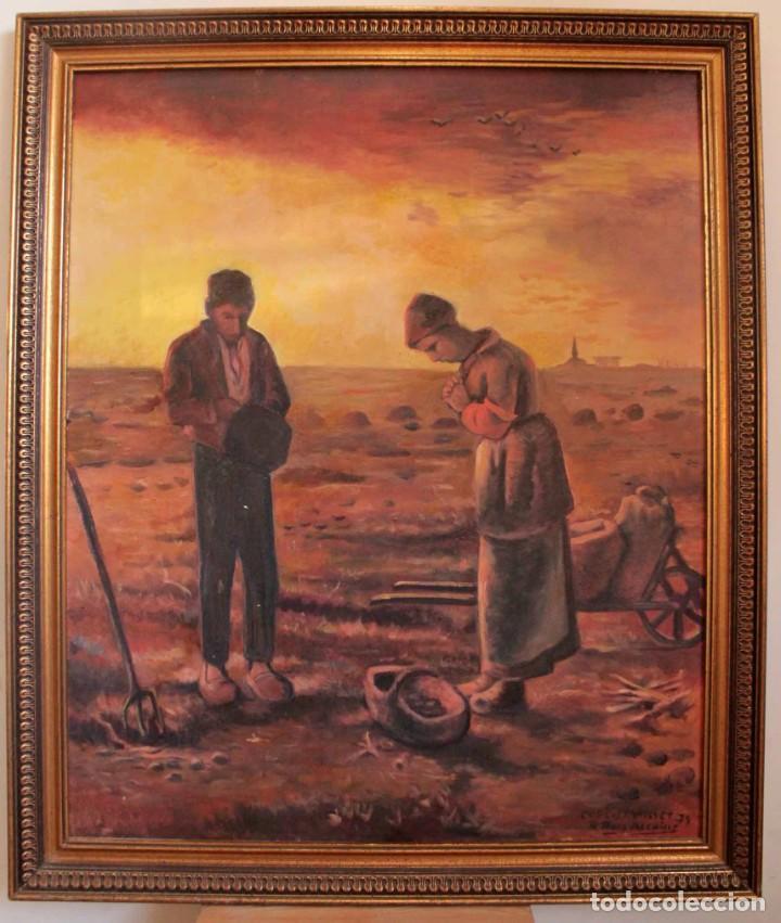 VERSIÓN DE LOS SEGADORES DE MILLET PINTADO AL OLEO SOBRE LIENZO. FIRMADO Y ENMARCADO 82X70CM (Arte - Pintura - Pintura al Óleo Contemporánea )