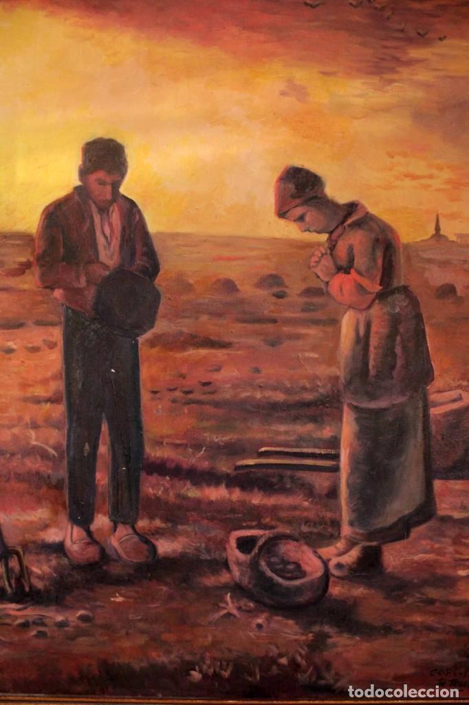 Arte: Versión de los segadores de Millet pintado al oleo sobre lienzo. Firmado y enmarcado 82x70cm - Foto 2 - 287760173