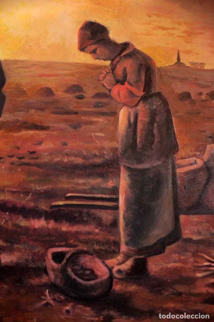 Arte: Versión de los segadores de Millet pintado al oleo sobre lienzo. Firmado y enmarcado 82x70cm - Foto 3 - 287760173