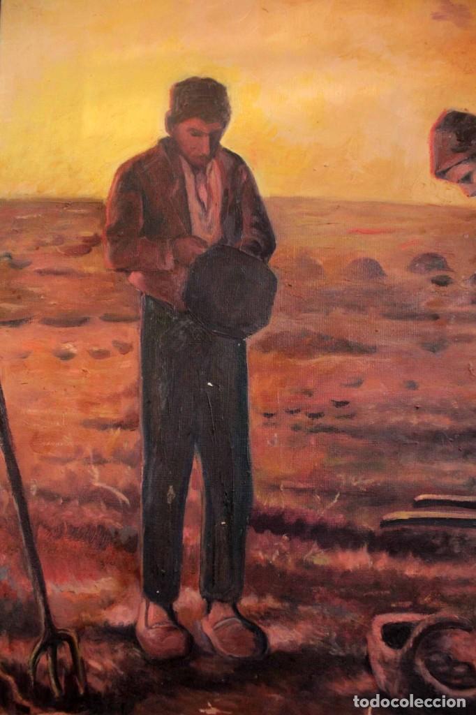 Arte: Versión de los segadores de Millet pintado al oleo sobre lienzo. Firmado y enmarcado 82x70cm - Foto 4 - 287760173