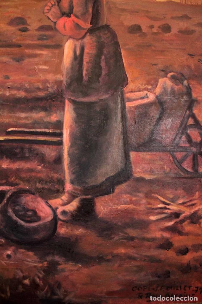 Arte: Versión de los segadores de Millet pintado al oleo sobre lienzo. Firmado y enmarcado 82x70cm - Foto 5 - 287760173