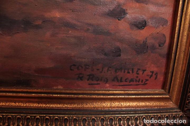Arte: Versión de los segadores de Millet pintado al oleo sobre lienzo. Firmado y enmarcado 82x70cm - Foto 6 - 287760173