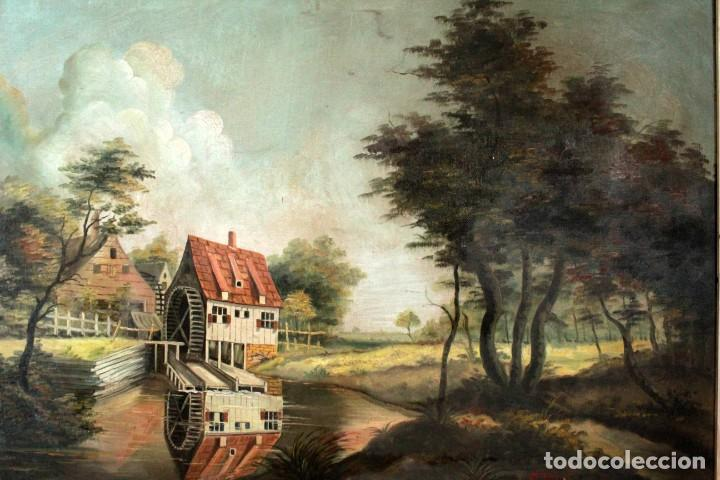 Arte: Escuela valenciana, firmado March. Paisaje con molino. Enmarcado 85x65cm - Foto 2 - 287761308