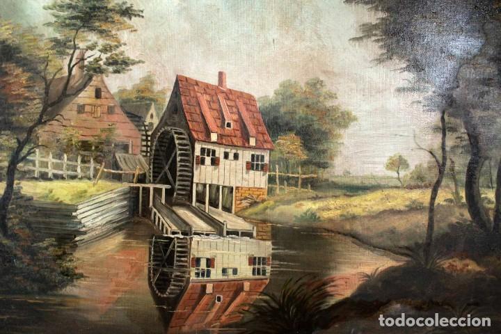 Arte: Escuela valenciana, firmado March. Paisaje con molino. Enmarcado 85x65cm - Foto 3 - 287761308