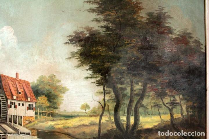 Arte: Escuela valenciana, firmado March. Paisaje con molino. Enmarcado 85x65cm - Foto 5 - 287761308