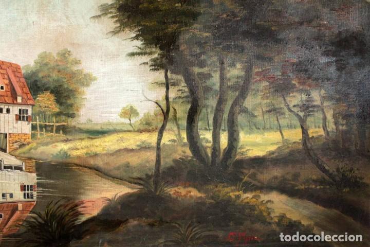 Arte: Escuela valenciana, firmado March. Paisaje con molino. Enmarcado 85x65cm - Foto 6 - 287761308