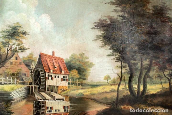 Arte: Escuela valenciana, firmado March. Paisaje con molino. Enmarcado 85x65cm - Foto 7 - 287761308