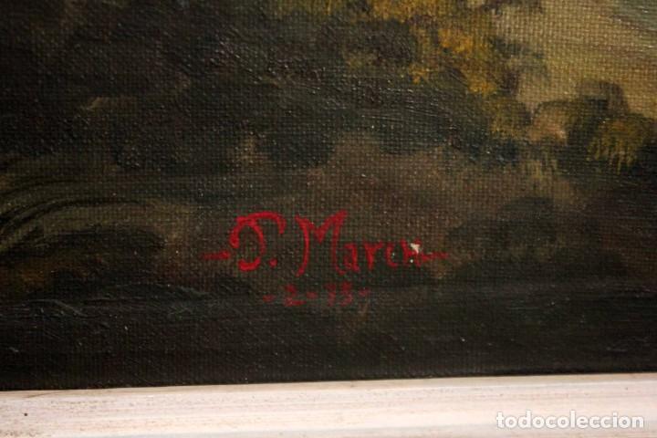 Arte: Escuela valenciana, firmado March. Paisaje con molino. Enmarcado 85x65cm - Foto 9 - 287761308