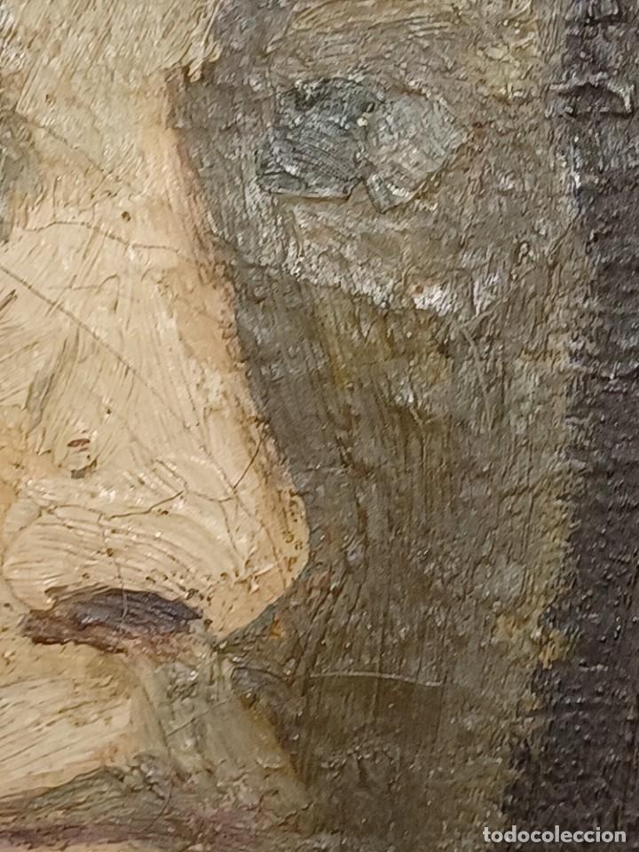 Arte: Antigua pintura impresionista personaje por identificar procedente de alicante - Foto 6 - 287768643