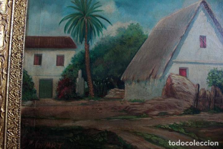 Arte: GUINART, esc valenciana o catalana, principio s.XX. Barraca. O/L enmarcado 87x52xm - Foto 8 - 287850953