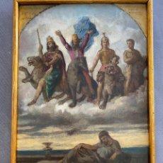 Arte: GERMÁN HERNÁNDEZ AMORES . MURCIA . S. XIX . ÓLEO TABLA , ALEGORÍA . FIRMADA Y DEDICADA. Lote 287851968