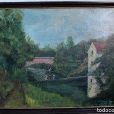 Arte: ESC. VALENCIANA O CATALANA. O/L FIRMADO R. ALBERT. PAISAJE. BUEN TRAZO. GRAN TAMAÑO 108X81(MARCO). Lote 287853768