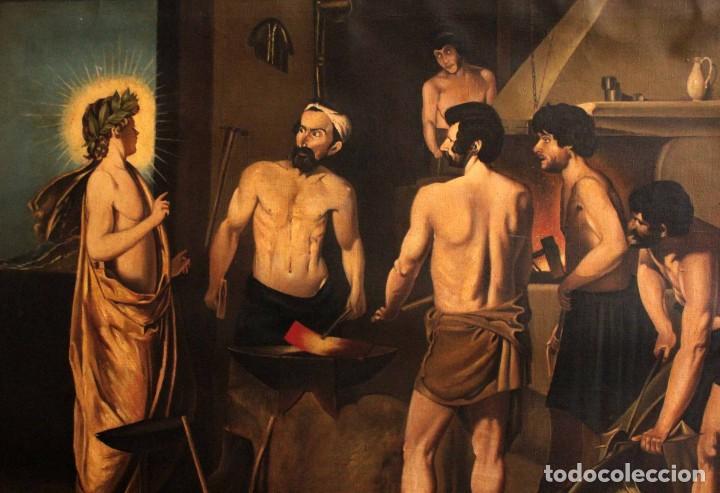 EXCELENTE COPIA DE LA FRAGUA DE VULCANO, OLEO / LIENZO. GRAN TAMAÑO. CON MARCO 112X89CM (Arte - Pintura - Pintura al Óleo Moderna sin fecha definida)