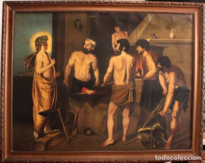 Arte: Excelente copia de la fragua de Vulcano, Oleo / lienzo. Gran tamaño. Con marco 112x89cm - Foto 2 - 287889303