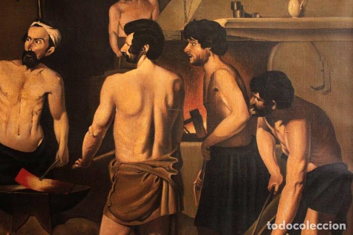 Arte: Excelente copia de la fragua de Vulcano, Oleo / lienzo. Gran tamaño. Con marco 112x89cm - Foto 3 - 287889303