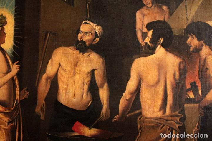 Arte: Excelente copia de la fragua de Vulcano, Oleo / lienzo. Gran tamaño. Con marco 112x89cm - Foto 4 - 287889303